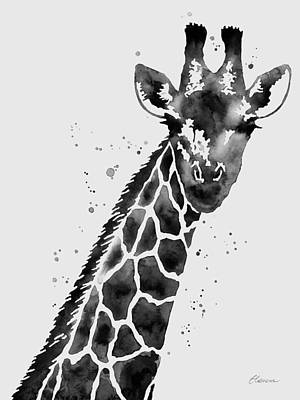 Giraffe In Black And White Poster by Hailey E Herrera