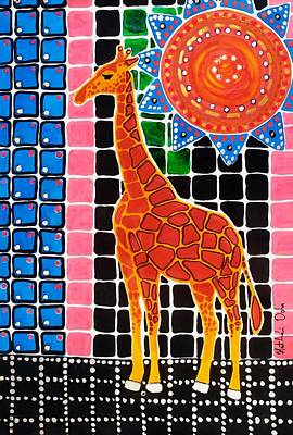 Poster featuring the painting Giraffe In The Bathroom - Art By Dora Hathazi Mendes by Dora Hathazi Mendes