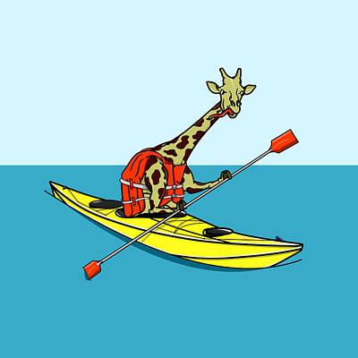 Giraffe Kayaking Poster by Early Kirky