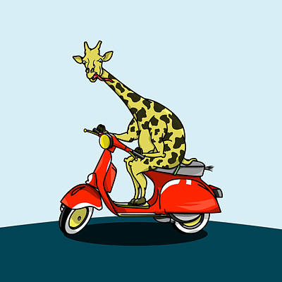 Giraffe Riding A Moped Poster by Early Kirky