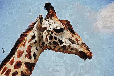 Poster featuring the digital art Giraffe Safari  by PixBreak Art