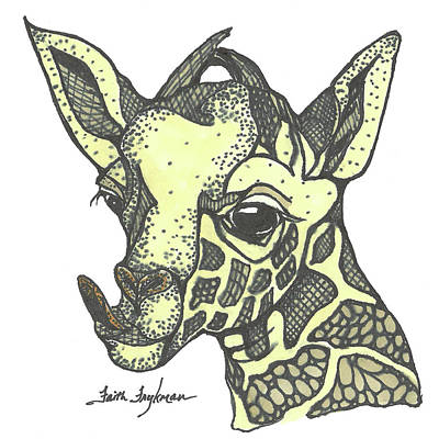 Giraffe, Tongue Out Poster by Faith Frykman