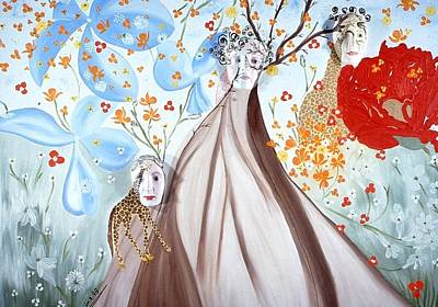 Poster featuring the painting Giraffe Womens by Sima Amid Wewetzer