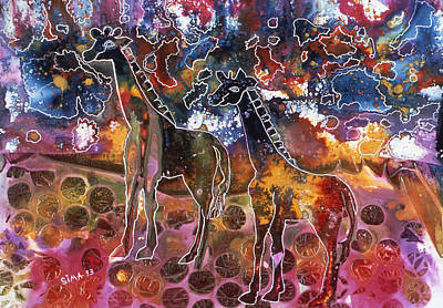 Poster featuring the painting Giraffes by Sima Amid Wewetzer