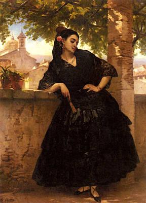 Giraud Eugene Pierre Francois A Spanish Beauty With A Fan Poster by Eugene Pierre Francois Giraud