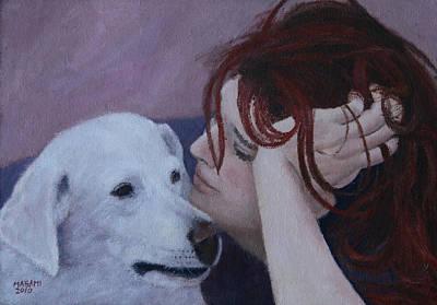 Girl And Dog Poster