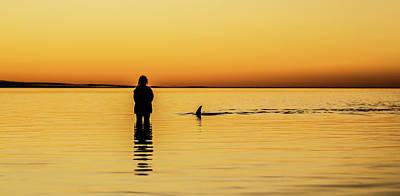 Girl And Dolphin - Monkey Mia, Western Australia Poster