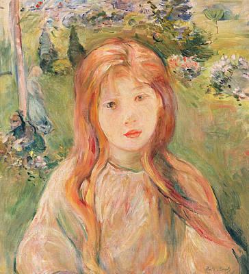 Girl At Mesnil Poster by Berthe Morisot