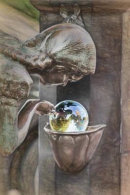 Girl At The Fountain Poster by John Haldane