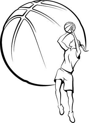 Girl Basket Ball Player Shooting Poster by Munrotoo