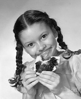 Girl Eating Bread And Jam, C.1950s Poster