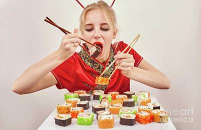 Girl Eats Sushi Poster by Aleksey Tugolukov
