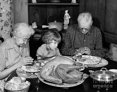 Girl Eyeing Food During Grace Poster