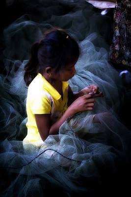 Girl Fixing Nets Poster