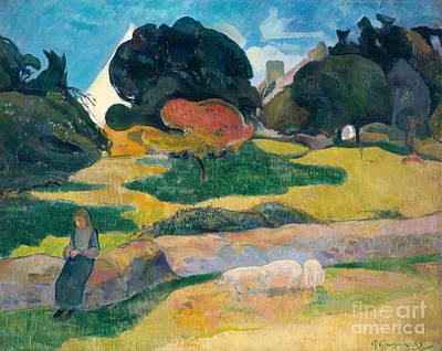 Girl Herding Pigs Poster by Paul Gauguin