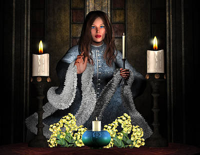 Girl Holding Candle Poster