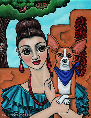 Girl Holding Chihuahua Art Dog Painting  Poster