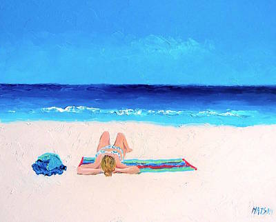 Girl In A Blue Bikini Beach Painting Poster by Jan Matson