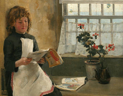 Girl In A Cottage Window Poster by Norman Garstin