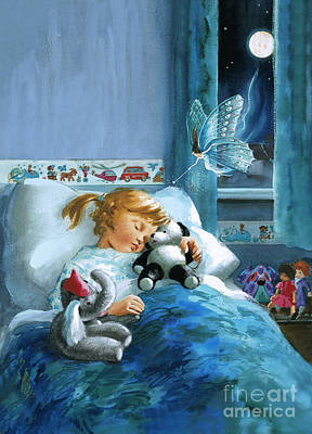 Girl In Bed Attended By Fairy Poster
