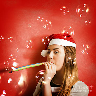 Girl In Fun Red Christmas Celebration Poster