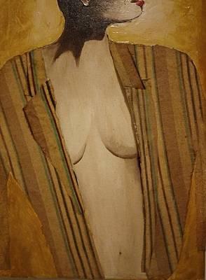 Girl In Man's Shirt Poster