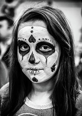 Poster featuring the photograph Girl In Skull Facepaint by John Williams