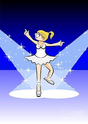 Girl In White Dress Dancing Under A Rain Of Stars Illuminated By Two Reflectors Poster