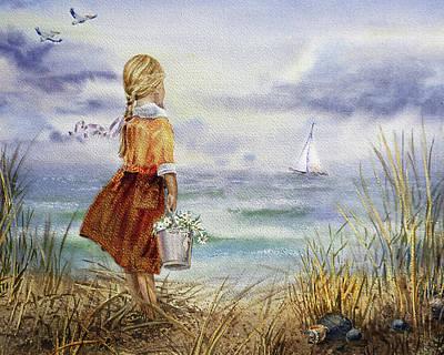 Girl Ocean Shore Birds And Seashell Poster