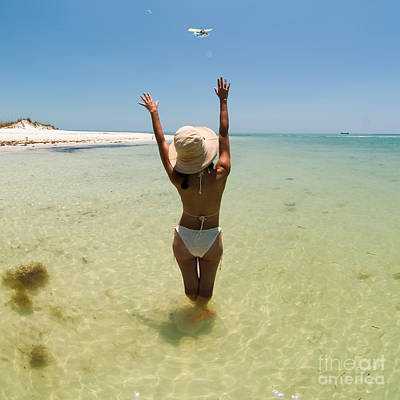 Girl On Beach Waving To Airplane Poster by Rolf Bertram
