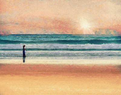 Girl On The Sand Beach - Contemporary Landscape Painting Poster by Wall Art Prints