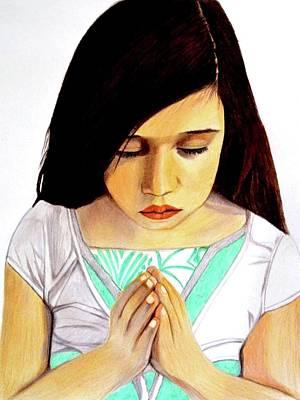 Girl Praying Drawing Portrait By Saribelle Poster