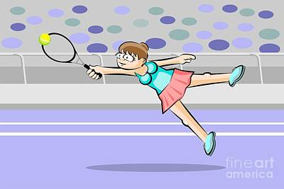 Girl Tennis Player Flies To Reach The Tennis Ball With Her Racke Poster