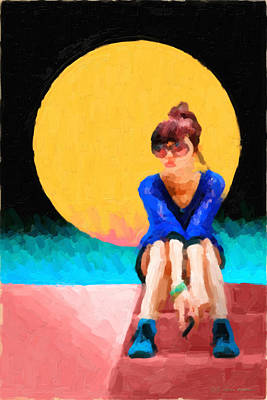 Girl Wearing Teal Sneakers Poster by Serge Averbukh