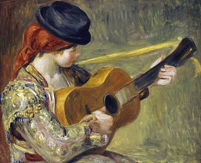 Girl With A Guitar Poster by Auguste Renoir