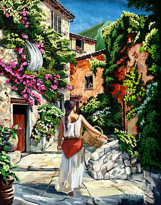 Girl With Basket On A Greek Island Poster