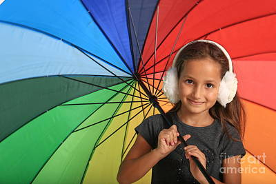Girl With Colourful Umbrella  Poster by Fabian Koldorff