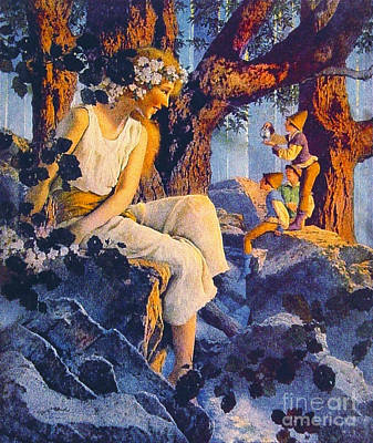 Girl With Elves 1918 Poster by Padre Art