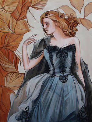 Girl With Golden Leaves Poster by Jacque Hudson