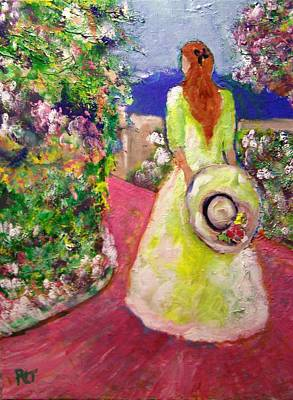 Girl With Hat On The Garden Path Poster