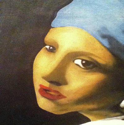 Poster featuring the painting Girl With Pearl Earring Face by Jayvon Thomas