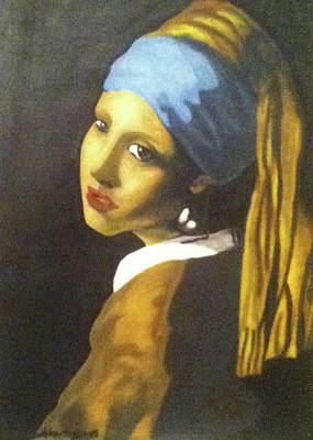 Poster featuring the painting Girl With Pearl Earring by Jayvon Thomas