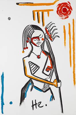 Girl With Rake 36x24 Poster