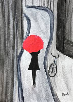 Girl With Red Umbrella Poster by Monika Howarth