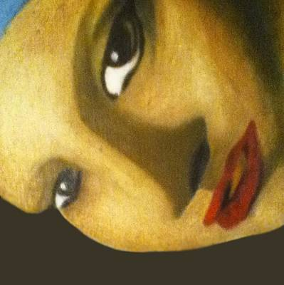 Poster featuring the painting Girl With The Pearl Earring Close Up by Jayvon Thomas