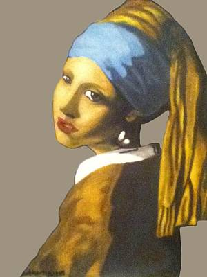 Poster featuring the painting Girl With The Pearl Earring No Background by Jayvon Thomas