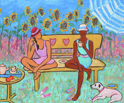 Poster featuring the painting Girlfriends' Teatime IIi by Xueling Zou