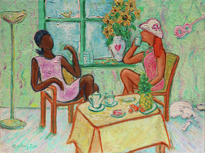 Poster featuring the painting Girlfriends' Teatime V by Xueling Zou