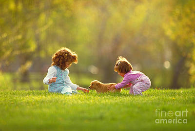 Girls And Puppy At Play In The Park Poster