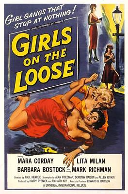 Poster featuring the digital art Girls On The Loose by Reinvintaged